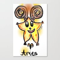 aries Canvas Prints featuring Aries by sladja