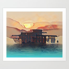 Brighton Pier Sunset Orange and Blue. Art Print