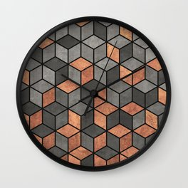 Concrete and Copper Cubes Wall Clock