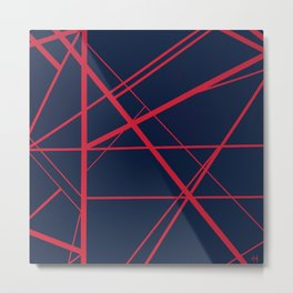 Crossroads - Navy and Red Metal Print