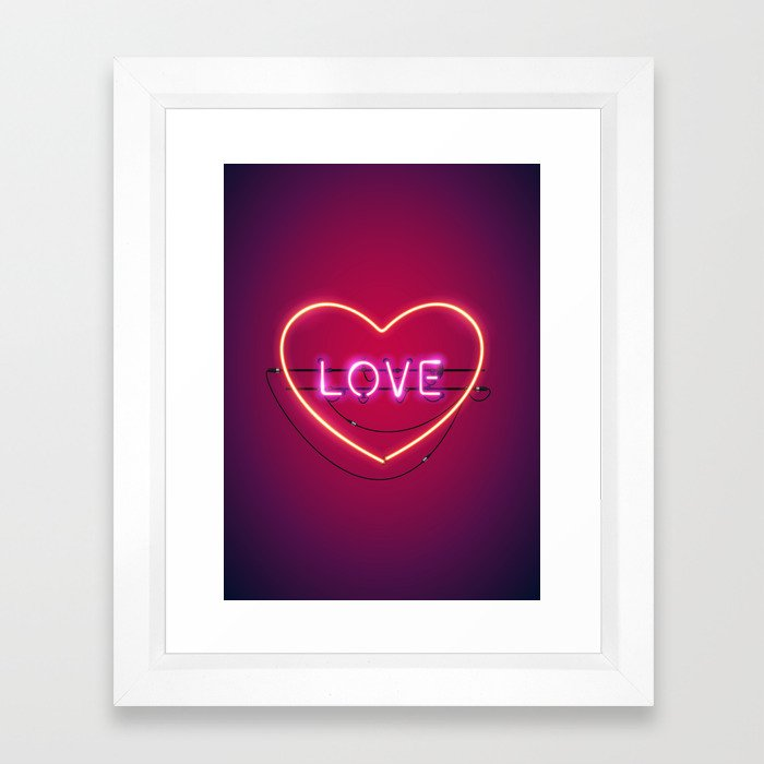 Pink Love in the Heart Neon Sign Framed Art Print