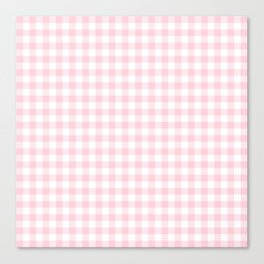 Light Soft Pastel Pink Cowgirl Buffalo Check Plaid Canvas Print