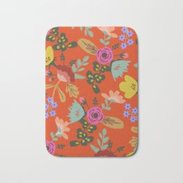 Funky Red Floral Bath Mat