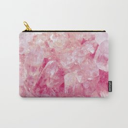 Pink Rose Quartz Crystals Carry-All Pouch