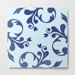 French Damask, Ornaments, Swirls - Blue  Metal Print