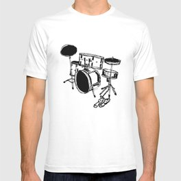 Drum Kit Rock Black White T-shirt