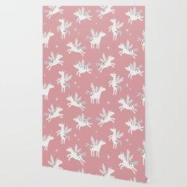 Unicorns on a pink sky Wallpaper