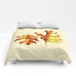 Ink And Watercolor Painted Dancing Autumn Leaves Comforters