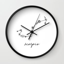 Scorpio Floral Zodiac Constellation Wall Clock