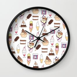Cute Ice cream pattern on white Wall Clock
