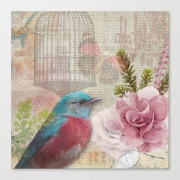 Vintage Birds & Feminine Decoupage Canvas Print