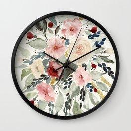 Loose Watercolor Bouquet Wall Clock