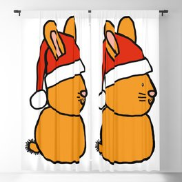 Gold bunny wearing a Santa hat Blackout Curtain