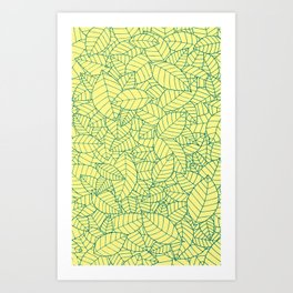 Hand drawn leaves pattern Art Print