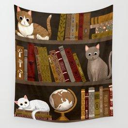 cat bookshelf Wall Tapestry