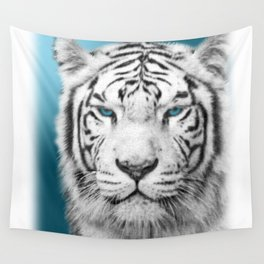 Blue Eyed White Tiger Wall Tapestry