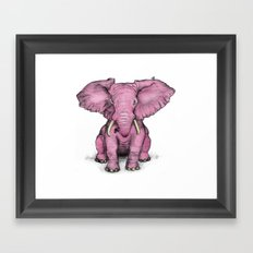 Pink Elephant and Roger Framed Art Print
