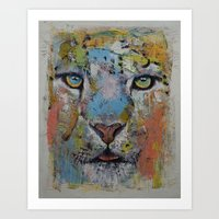 snow leopard Art Prints featuring Leopard by Michael Creese