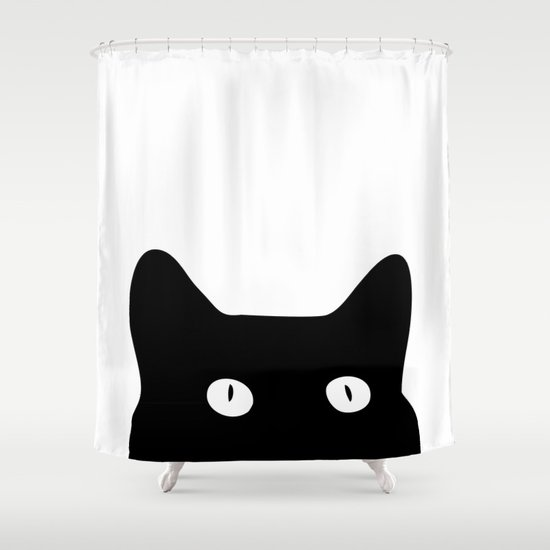 Black Cat Shower Curtain By Goodsense