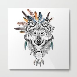 Bohemian Wolf with Feather Headdress Metal Print