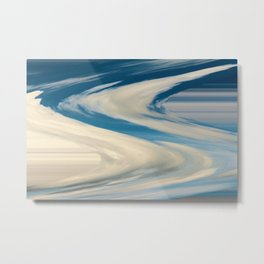 Blue And White Swirls Metal Print