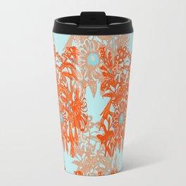 Orange and blue floral pattern Travel Mug