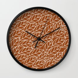 Doodle Leaves Rust and Light Grey (almost white) Wall Clock
