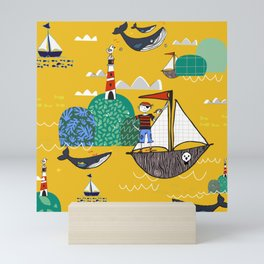 Pirates Ahoy Yellow Mini Art Print