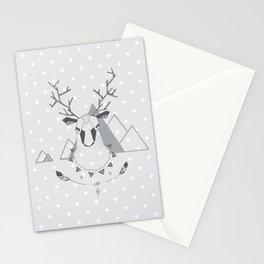 Geo Deer Gray Stationery Cards