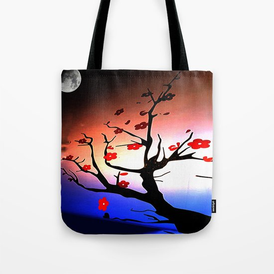 Japanese Maple Under Night Sky With Moon Tote Bag