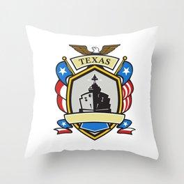 Texas Battleship Emblem Retro Throw Pillow
