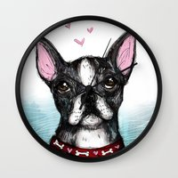boston terrier Wall Clocks featuring Boston Terrier by Inked in Red