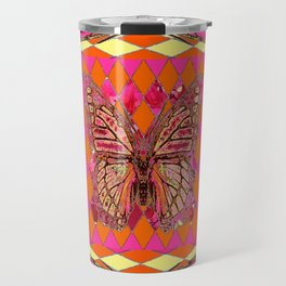 ABSTRACT MONARCH BUTTERFLY IN PINK-YELLOW Travel Mug