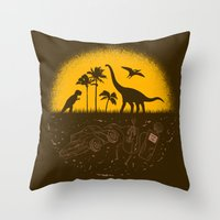 pocket fuel Throw Pillows featuring Fossil Fuel by Graham Dobson