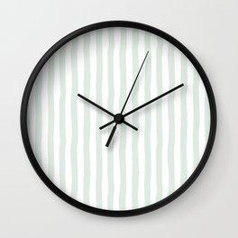 Vintage green white paint brushstrokes stripes Wall Clock