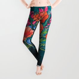 California Poppy and Wildflower Bouquet on Emerald with Tigers Still Life Painting Leggings