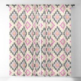 Boho Ikat Diamonds Sheer Curtain