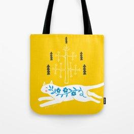Folk cat on yellow Tote Bag