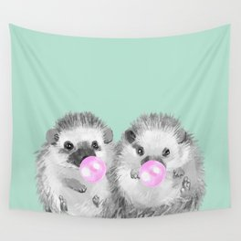 Playful Twins Hedgehog Wall Tapestry