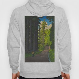 Vintage Japanese Woodblock Print Kawase Hasui Mystical Japanese forest Tall Green Trees Hoody
