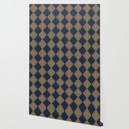 Block Print Checker Board in Navy and Gold Wallpaper