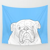 bulldog Wall Tapestries featuring Bulldog by FeliciaR