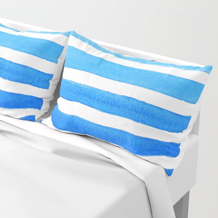 Blue Watercolor Stripes Pillow Sham