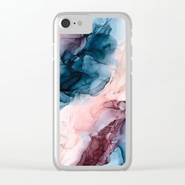 Pastel Plum, Deep Blue, Blush and Gold Abstract Painting Clear iPhone Case