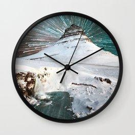 Iceland Night Kirkjufell Arrowhead mountain Wall Clock