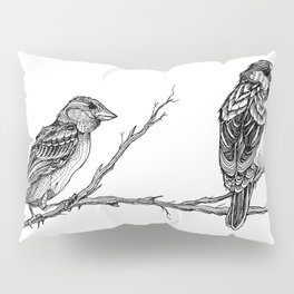 Two Sparrows by Sketchy Reputation Pillow Sham