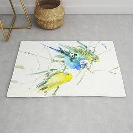 Parakeets green yellow blue bird decor Rug