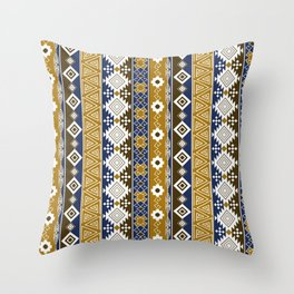 Colorful Aztec pattern with gold. Throw Pillow