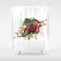iron man Shower Curtains featuring Iron Man by Rene Alberto
