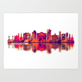 Bridgeport Connecticut Skyline Art Print